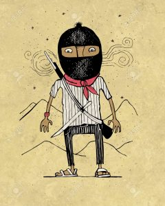 Hand drawn illustration or drawing of a zapatist mexican revolutionary soldier