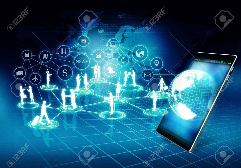 Internet Business connection network with businessman and woman doing their activity in virtual internet world.