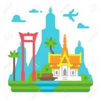 Flat design Bangkok landmarks illustration vector